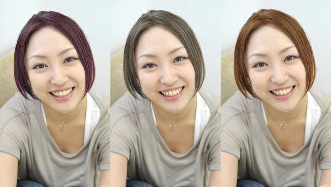 髪全体の色を変更