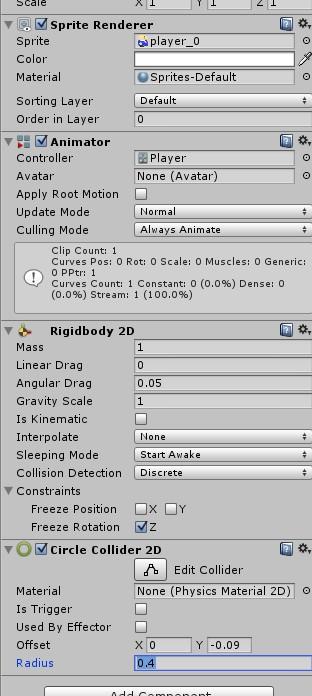 Collider 2Dをアタッチ