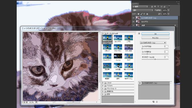 ポスタリゼーションフィルターをかけた猫の写真