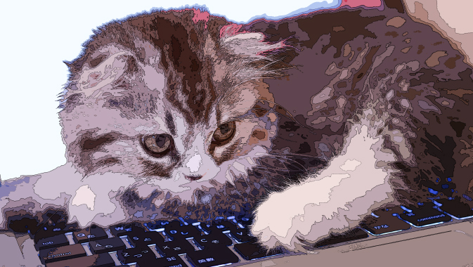 イラスト風にレタッチが完成した猫の写真