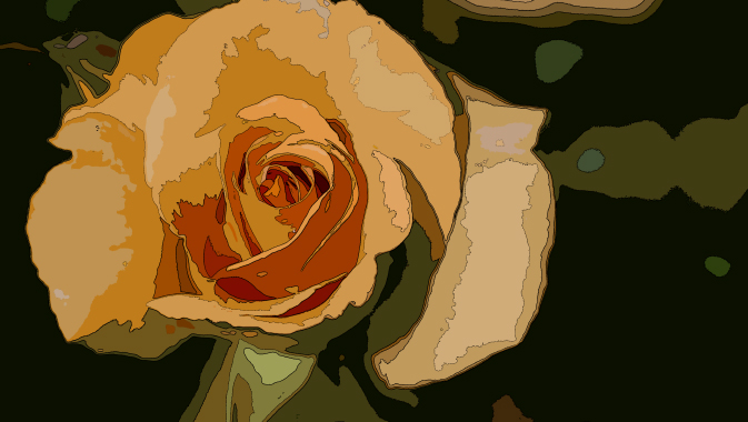 イラスト風にレタッチしたバラの写真