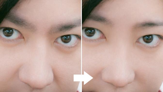 歪みを入れる前と後の眉間付近のビフォーアフター
