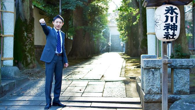氷川神社の門前にて