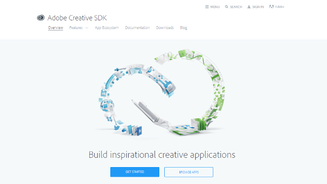 Adobe Creative SDKサイトトップ