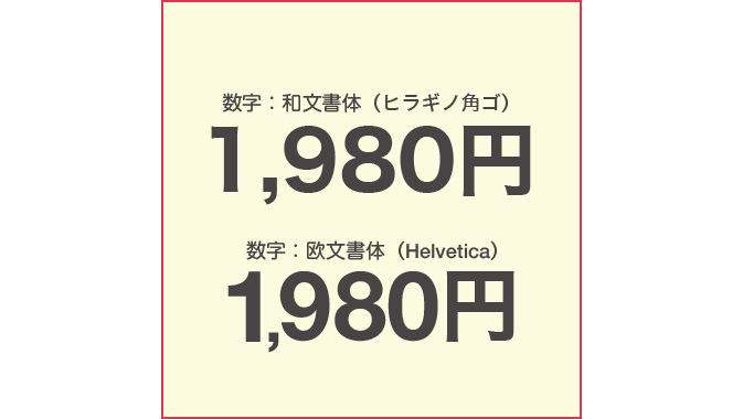 数字に使用した欧文書体が小さいので和文に合わせて調整