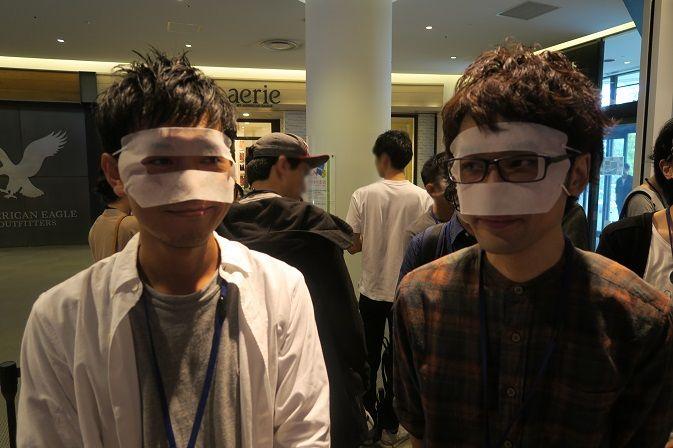 マスクを装着したところ